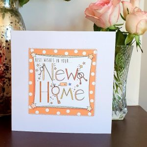 Best wishes in your new home card hand finished with stitching and silver stars