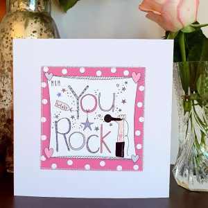 Mum You Rock Mother's Day Card hand finished with stitching and silver stars