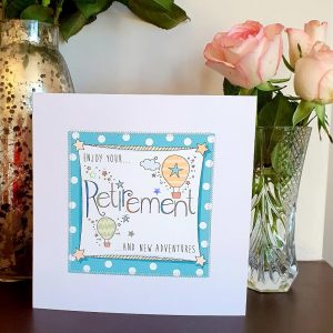 Enjoy your retirement and new adventures card hand finished with stitching and silver stars