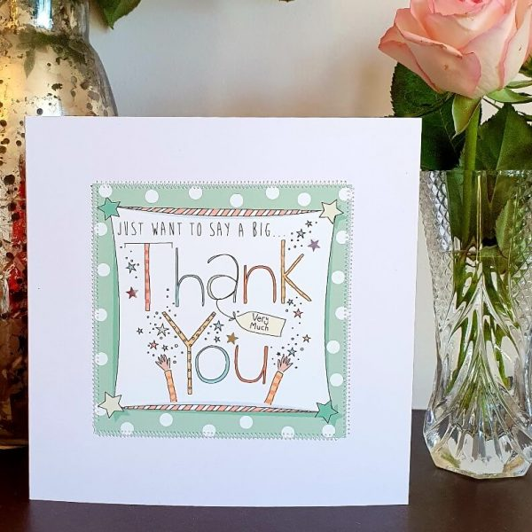 just want to say a big thank you card hand finished with stitching