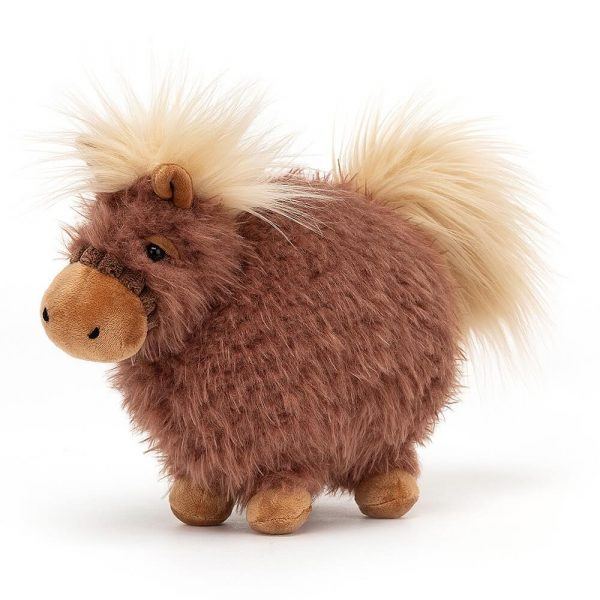 A fluffy round roly poly pony cuddly toy with a fluffy mane. brown with a cream mane