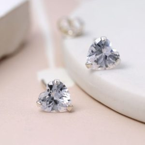 A pair of clear crystal stirling silver earrings from jewellery design company POM
