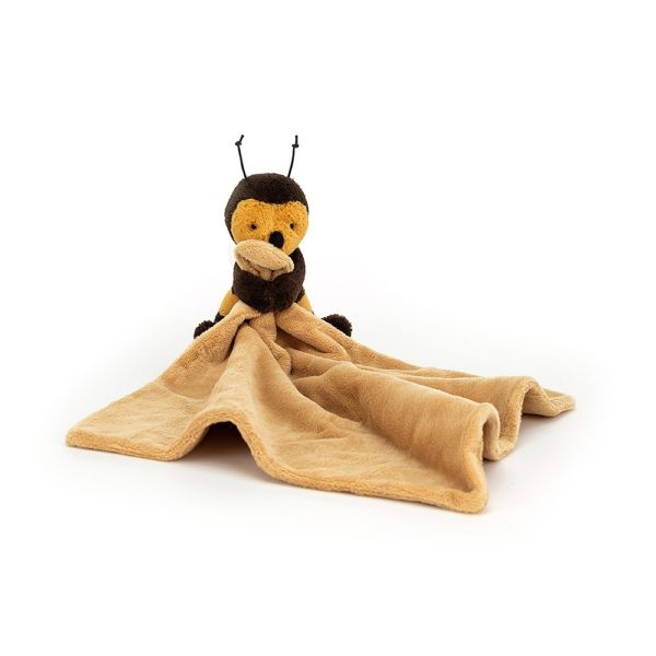 An image of an opened out baby soother which has a cuddly bumble bee attached to it.