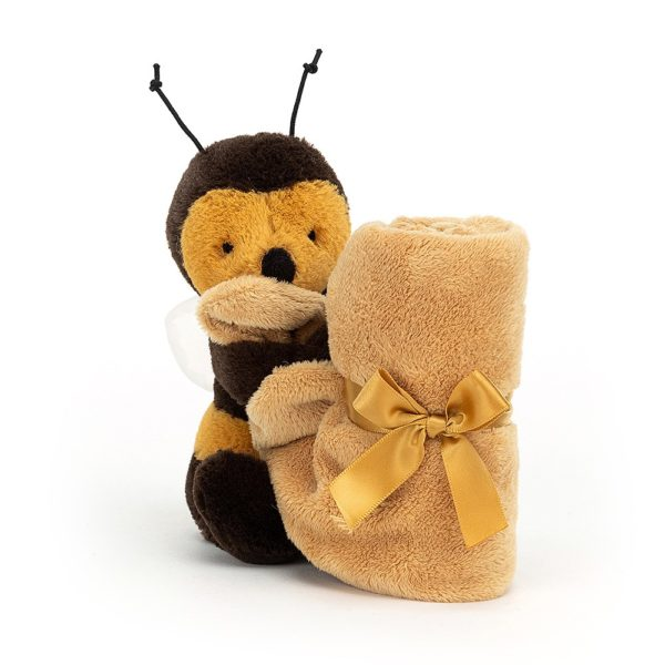 A cuddly toy which is also a baby soother that looks like a bee.