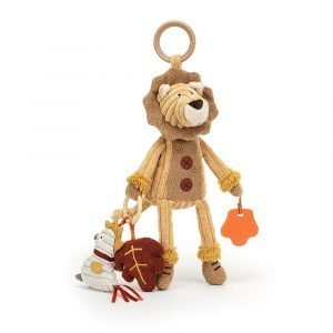 Cordy Roy Lion activity toy that crinkles, squeeks, rattles and has a teether.
