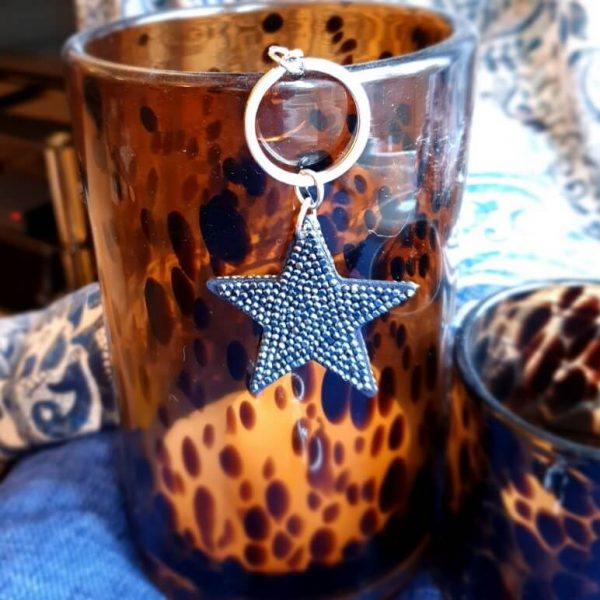 Glittery star key ring with black stones