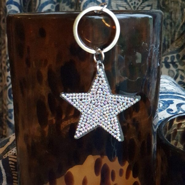 Glittery star key ring with clear stones