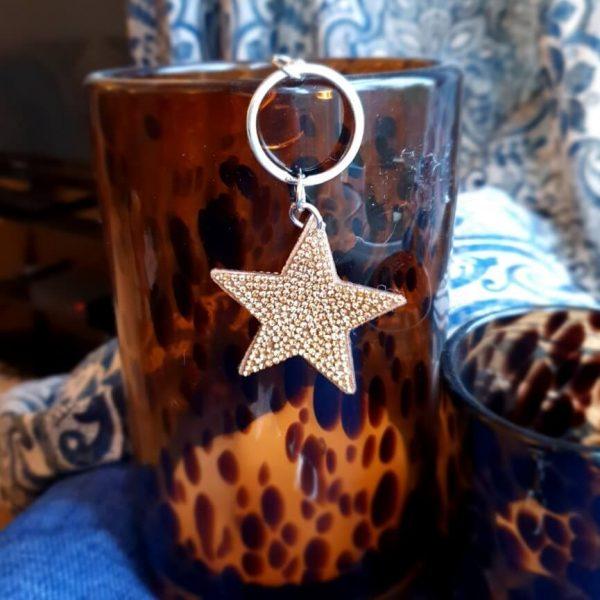 Gold glittery star key ring