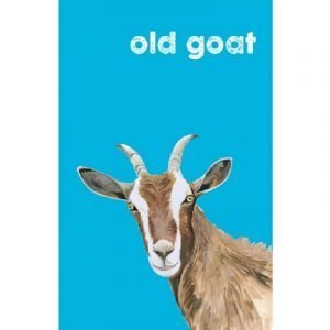 A bright blue cotton tea towel with a picture of a goat and the words old goat