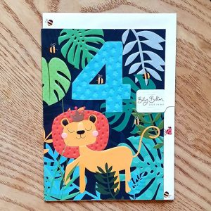 A neon bright jungle themed 4th birthday card with a lion and a big blue 4 with stars