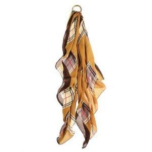 A lightweight mustard check scarf