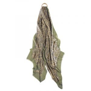 A large super soft scarf in natural coloured leopard print with a khaki green border