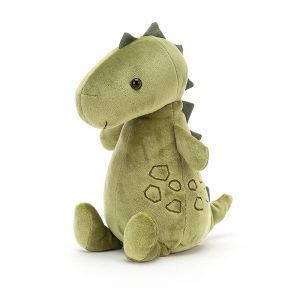 A gorgeous velvet soft dinosaur soft toy with stitched scales, soft spines and a squashy tail. In moss green with a cute smiling face. Suitable from birth