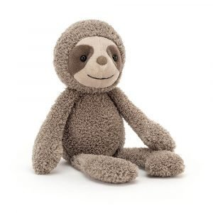 A sloth soft toy from Jellycat with soft shaggy fur anda smiley cute face.