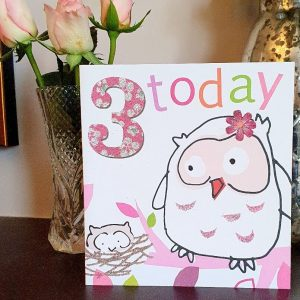 A third birthday card from Caroline Gardner in pinks with a drawing of a Mummy owl and her baby owl in a nest and the words 3 today