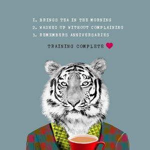 A quirky card from card designer Sally Scaffardi with a tiger and a list of training skills making a perfect valentines day card