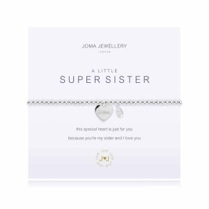 An elasticated bracelet from Joma with round silver plated brass beads and a silver heart pendant stamped with Sister from Joma. Presented on a white card printed with A little Super Sister - this special heart is just for you because you're my sister and I love you