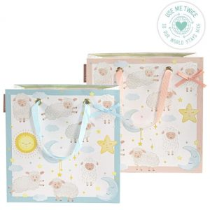 A medium sized 25 by 25cm gift bag for a new baby. With a lamb, moon and stars design in a choice of pink or blue