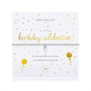 An elasticated bracelet from Joma with round silver plated brass beads and a silver plated balloon pendant from Joma. Presented on a white card printed with A little Live Birthday Celebration - this little balloon for your birthday is to celebrate your special day