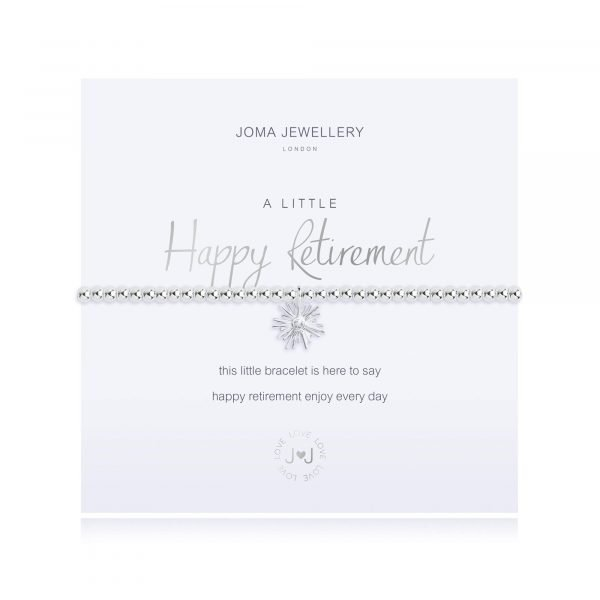 An elasticated bracelet from Joma with round silver plated brass beads and a silver plated flower pendant from Joma. Presented on a white card printed with A little Happy Retirement - this little bracelet it here to say happy retirement enjoy every day