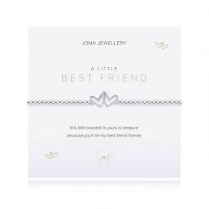 An elasticated bracelet from Joma with round silver plated brass beads and two interlocking silver hearts from Joma. Presented on a white card printed with A little Best Friend - this little bracelet is yours to treasure, because you'll be my best friend forever