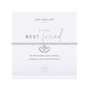 An elasticated bracelet from Joma with round silver plated brass beads and two interlocking silver hearts pendant from Joma. Presented on a white card printed with A little Best Friend - this little bracelet is yours to treasure, because you'll be my best friend forever