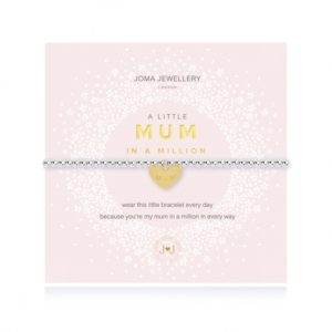 A silver plated bead stretch bracelet with an embellished gold heart charm from Joma Jewellery. The bracelet is presented on a pink coloured card with the wording A Little Mum in a Million printed on it.