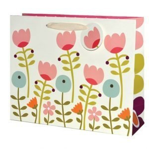 A large gift bag with pink blue and green flower design