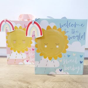 "A new baby gift bag with a ribbon handle. With a big yellow sun design on either a pink or blue background with the words ""Welcome to the world sweet baby"""