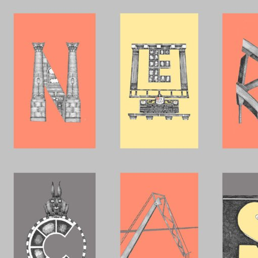 A print of architectural and historcal elements of Newcastle spelling out the word Newcastle within the print. From Newcastle artist Ben Holland of Low Moon over High Town.