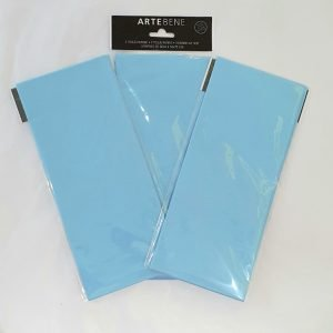 A pack of three sheets of baby blue tissue paper for gift wrapping