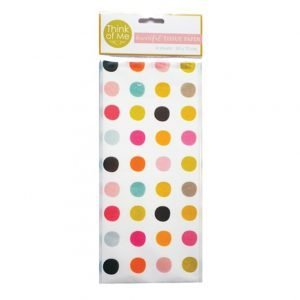 A pack of 4 sheets of tissue paper with brightly coloured dots