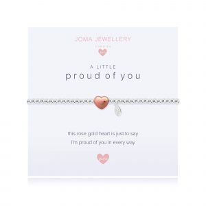 A children's elasticated silver plated beaded bracelet on a white card from Joma jewellery. The bracelet has a rose gold heart charm and the card reads Proud of you - this rose gold heart is just to say I'm proud of you in every way. Comes with a gift card for your own message and wrapped in a gift bag tied with a satin ribbon