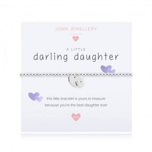 A children's elasticated silver plated beaded bracelet on a white card from Joma jewellery. The bracelet has a silver double heart charm and the card reads Darling Daughter - this little bracelet is yours to treasure because you're the best daughter ever. Comes with a gift card for your own message and wrapped in a gift bag tied with a satin ribbon