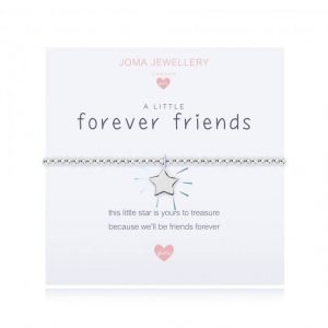 A children's elasticated silver plated beaded bracelet on a white card from Joma jewellery. The bracelet has a silver star charm and the card reads Forever Friends - this little star is yours to treasure because we'll be friends forever. Comes with a gift card for your own message and wrapped in a gift bag tied with a satin ribbon