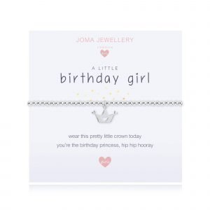 A children's elasticated silver plated beaded bracelet on a white card from Joma jewellery. The bracelet has a silver crown with hearts charm and the card reads Birthday Girl - wear this pretty little crown today you're the birthday princess, hip hip hooray. Comes with a gift card for your own message and wrapped in a gift bag tied with a satin ribbon