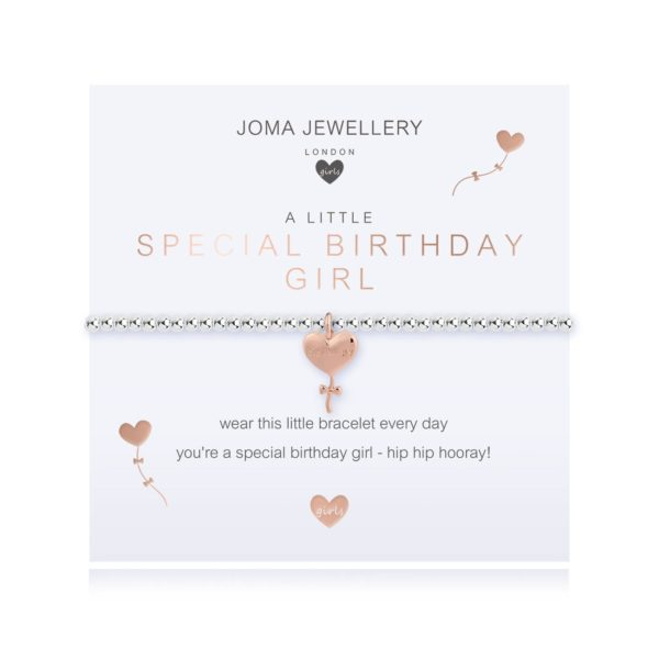 A silver plated elasticated bracelet with a gold plated heart balloon charm on a square sentiment card with the words A Little Special Birthday Girl'. The card has a gold heart balloon design on it and is a smaller size thatn the standard bracelets so is perfect for a child. From jewellery company Joma.