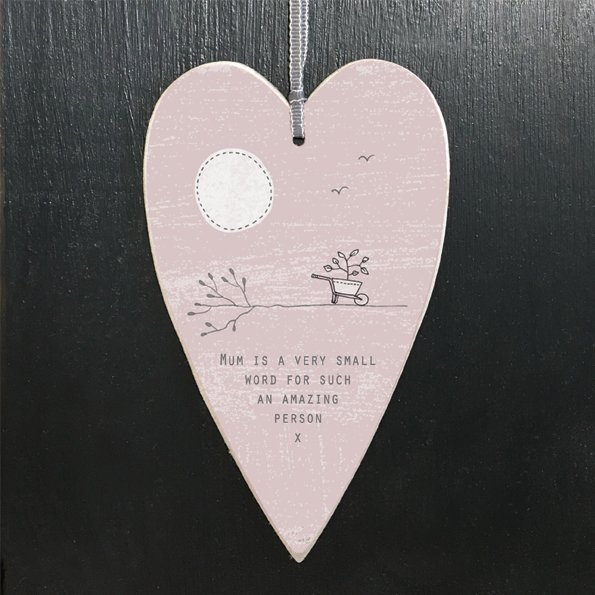 A pink heart tag with the words Mum is a very small word for such an amazing person x