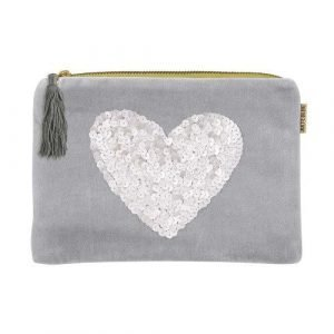 A grey velvet cosmetic pouch with a large silver sequined heart.