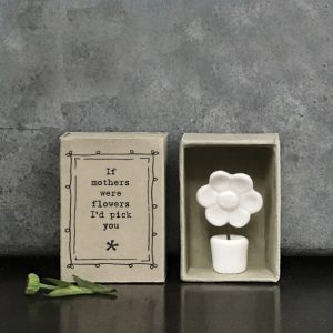 A tiny little porcelain potted flower in a cute little matchbox printed with If mothers were flowers I'd pick you