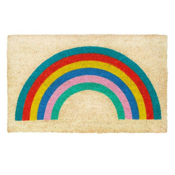 A coir doormat from design company Bombay Duck with an image of a colourful rainbow printed on it.