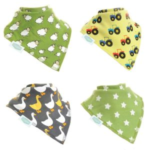 A boxed set of 4 dribble bibs, each bib has a different farmyard design. There's a green bib with little sheep, a yellow bib with colourful tractors, a dark grey bib with geese and a green bib with white spots