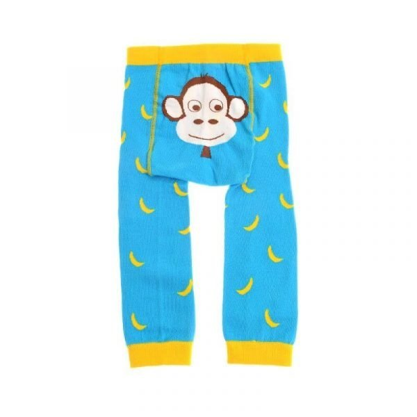A pair of bright turquoise knitted children's leggings with a bright yellow banana pattern and yellow cuffs and waist band and a big cute monkeys face on the bum