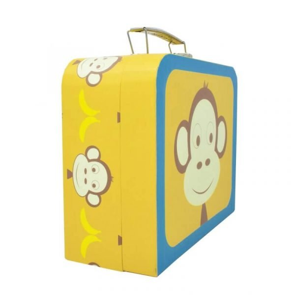 A bright yellow and turquoise cardboard suit case from the Marley Monkey Gift Set. The suitcase is decorated with cute monkey faces and bananas