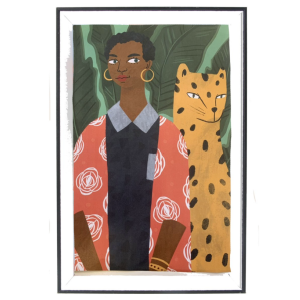 A framed print of a girl with a leopard.