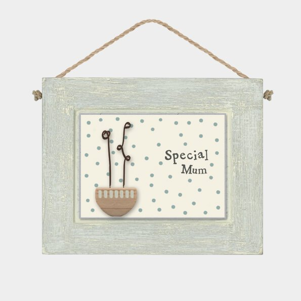 A little wooden plaque with a hanging rope and a spotty framed picture with the words special Mum and a wire and wooden flower bowl
