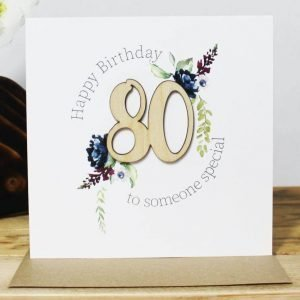 An 80th birthday card with a wooden laser cut 80 and clear crystals. Happy Birthday to someone special