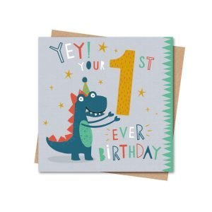 A cute card to give to a child on their 1st birthday. The card has a cute dinosaur holding up a large yellow number 1