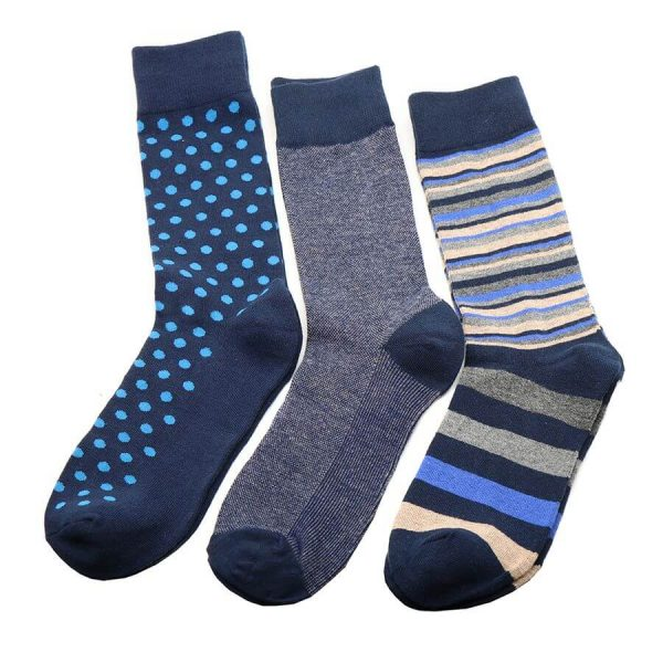 Three pairs of men's bamboo socks with stripes, spots and plain in shades of blue, presented in a gift box