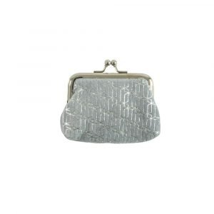 A grey velvet clip top coin purse with a silver foil geometric pattern and a pink lining.